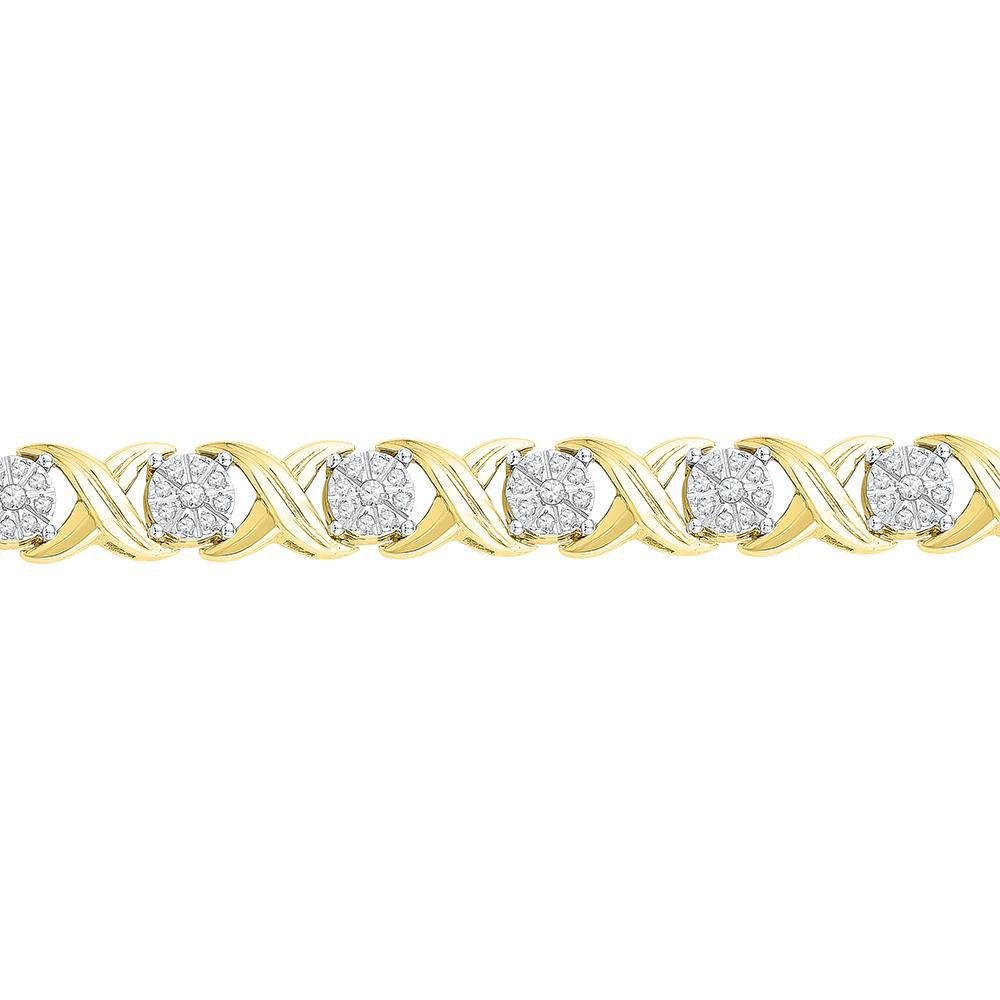 10kt Yellow Gold Round Diamond X Link Fashion Bracelet