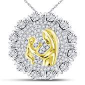 Sterling Silver Round Diamond Yellow-tone Mom Mother