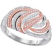 10kt White Gold Round Diamond Striped Rosetone Fashion