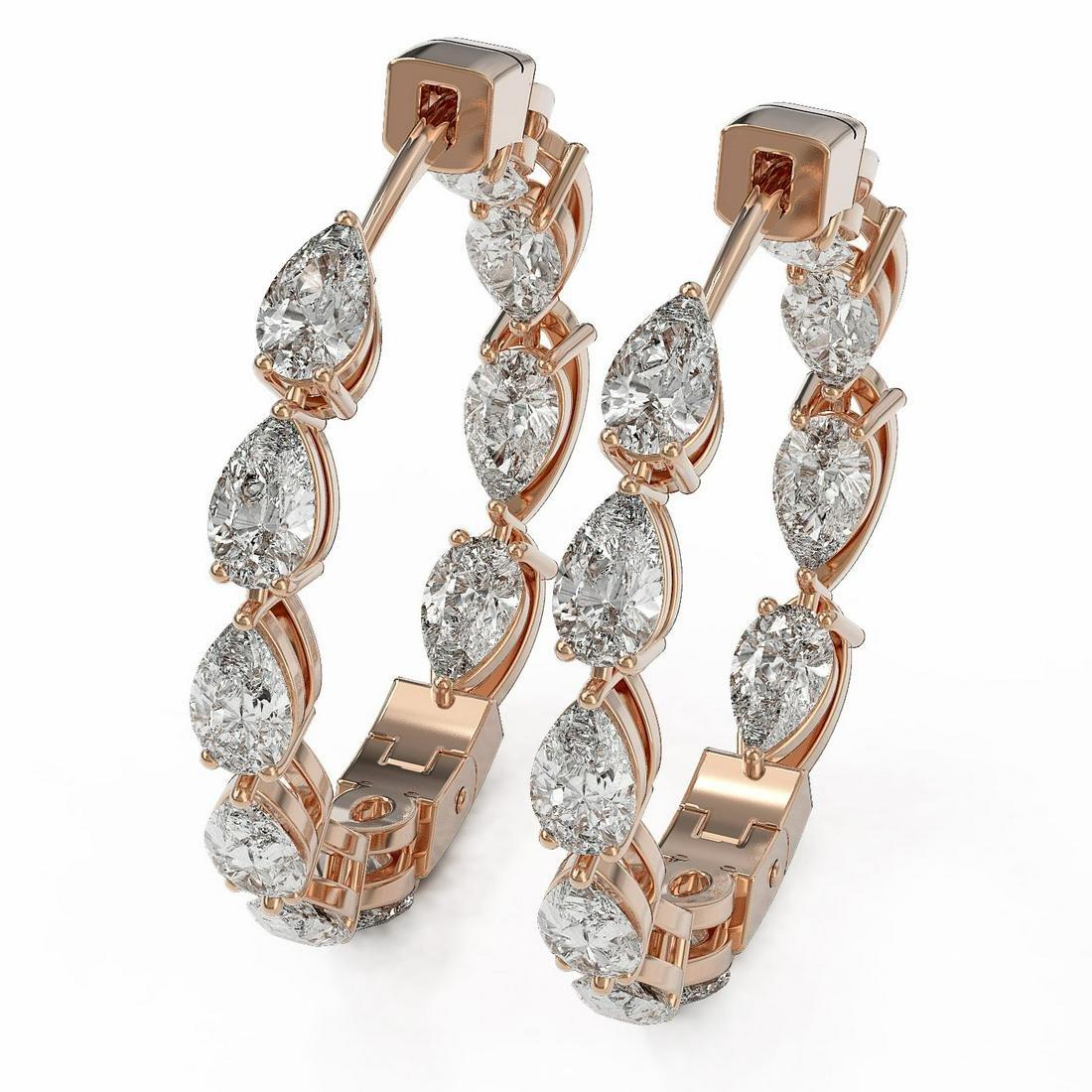 5.2 ctw Pear Cut Diamond Designer Earrings 18K Rose