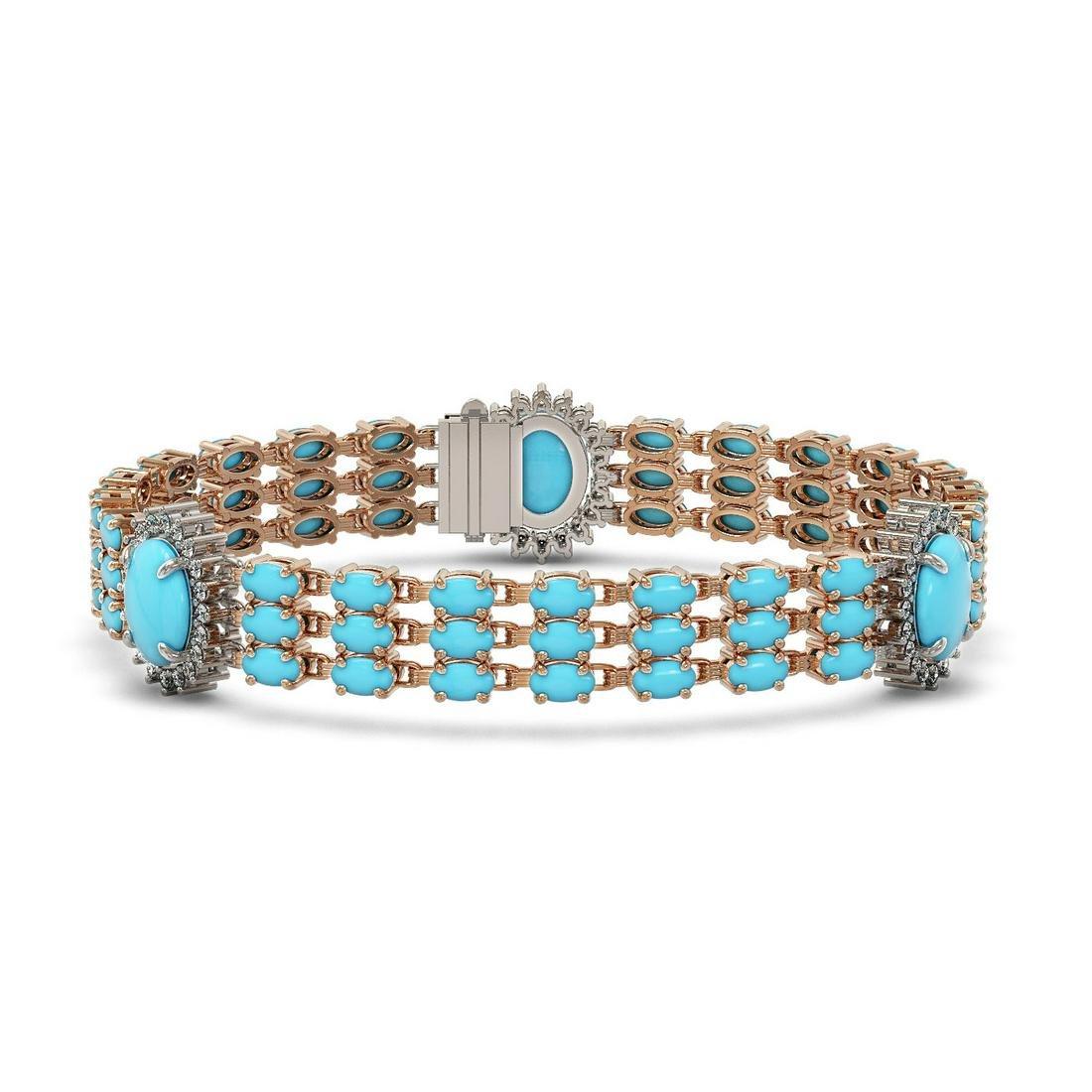 23.14 ctw Turquoise & Diamond Bracelet 14K Rose Gold