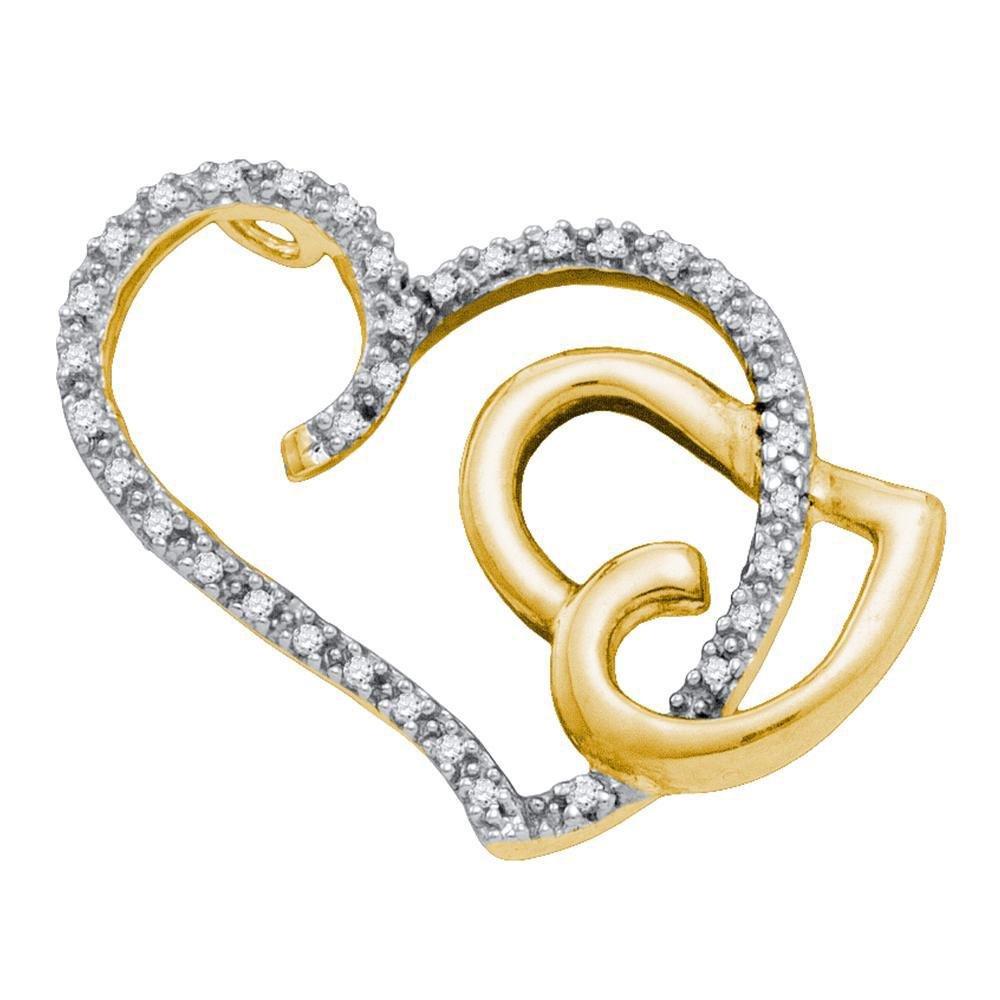 14kt Two-tone Gold Womens Round Diamond Heart Pendant
