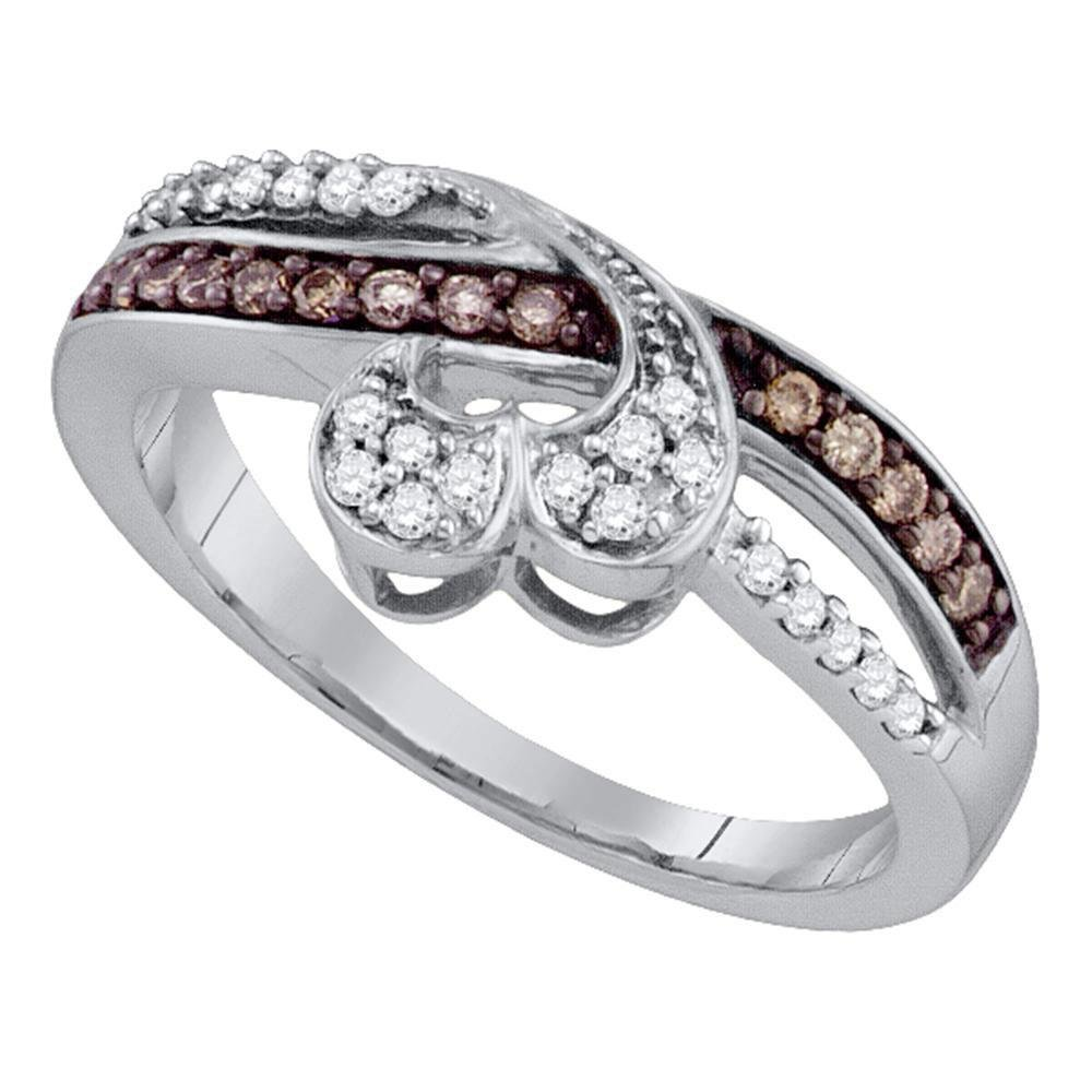 10kt White Gold Womens Round Brown Diamond Heart Band