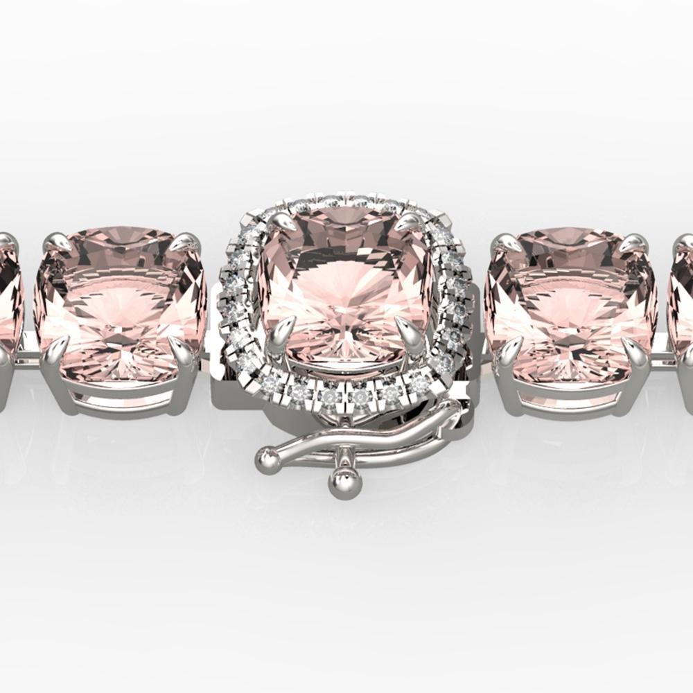 35 ctw Morganite & Micro Pave Diamond Bracelet 14k