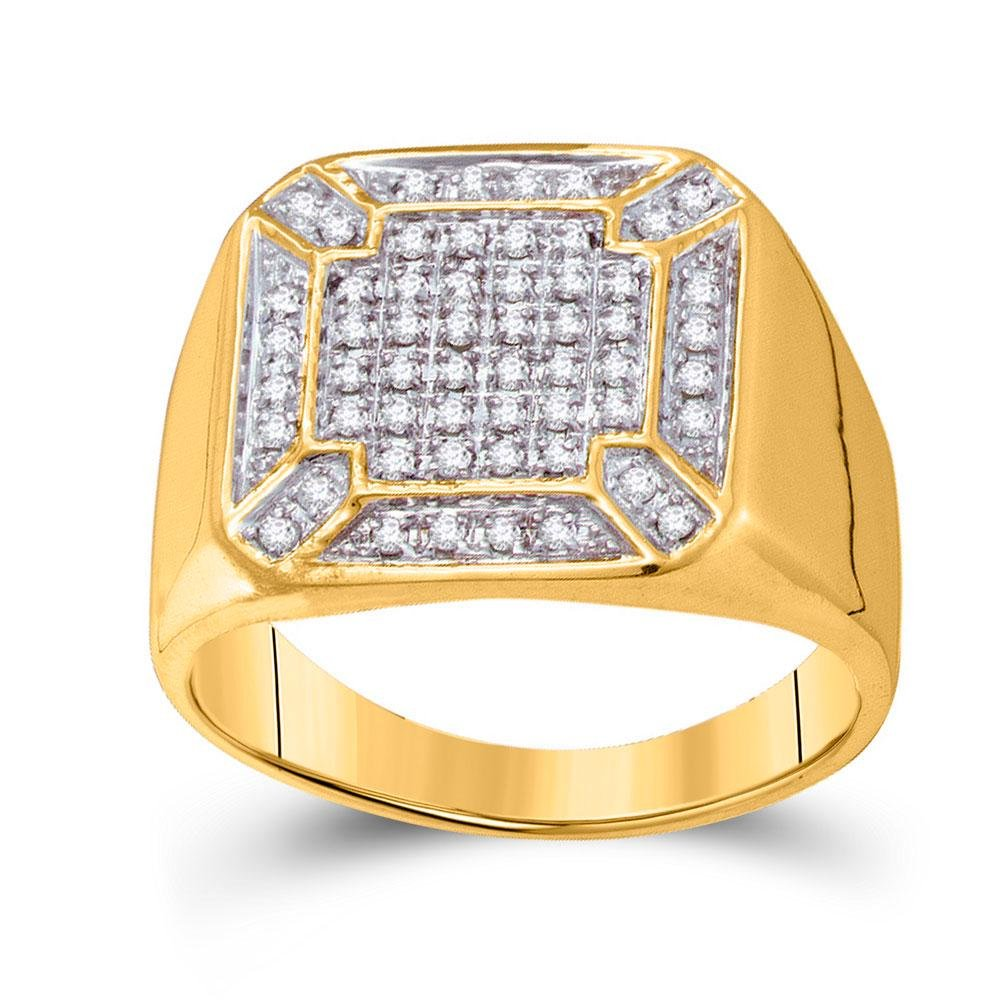 10kt Yellow Gold Mens Round Diamond Square Cluster Ring