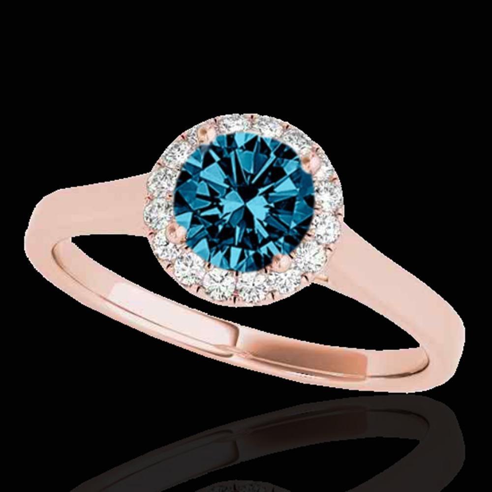 1.11 ctw SI Certified Fancy Blue Diamond Halo Ring 10k