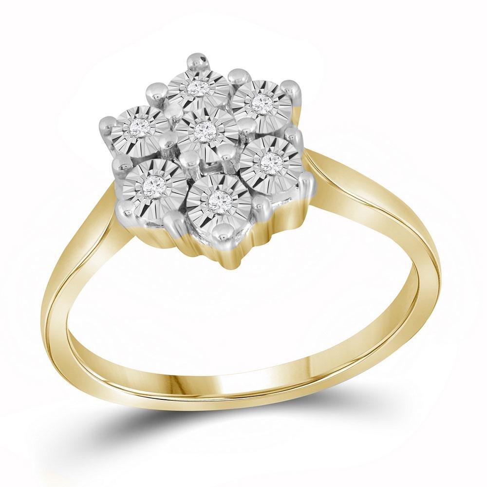 Yellow-tone Sterling Silver Womens Round Diamond