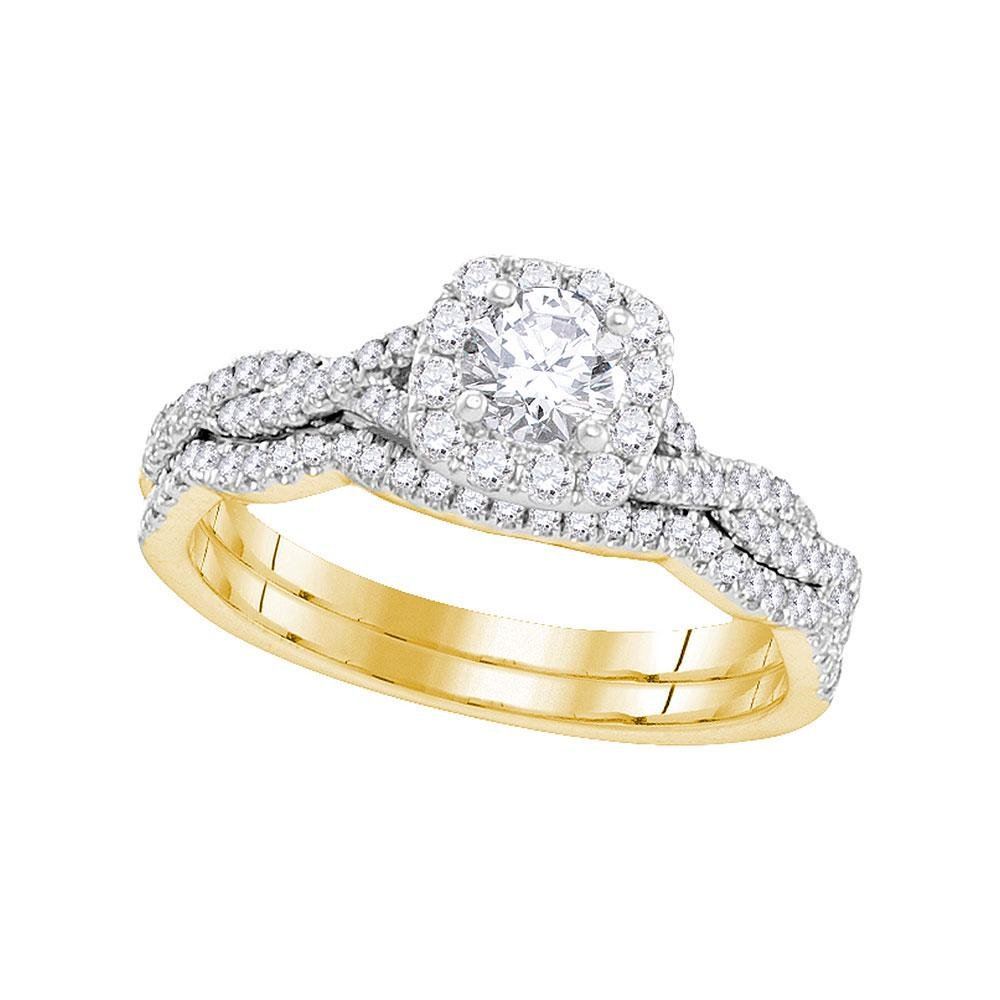 14kt Yellow Gold Womens Round Diamond Twist Bridal