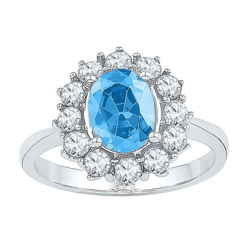 Sterling Silver Womens Oval Lab-Created Blue Topaz