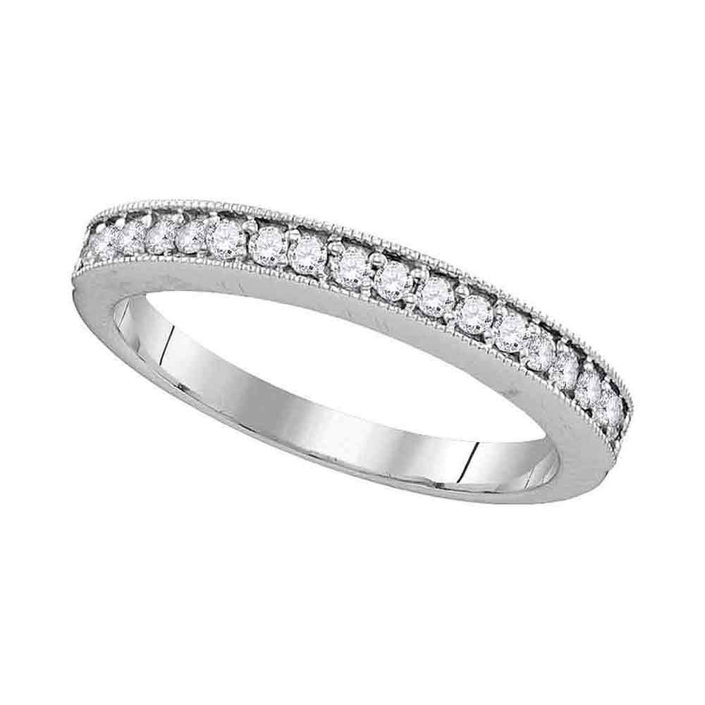 10kt White Gold Womens Round Pave-set Diamond Single