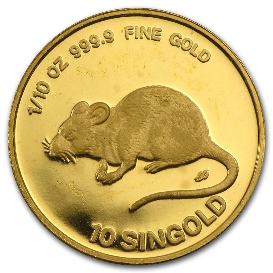1984 Singapore 1/10 oz Proof Gold 10 Singold Year of
