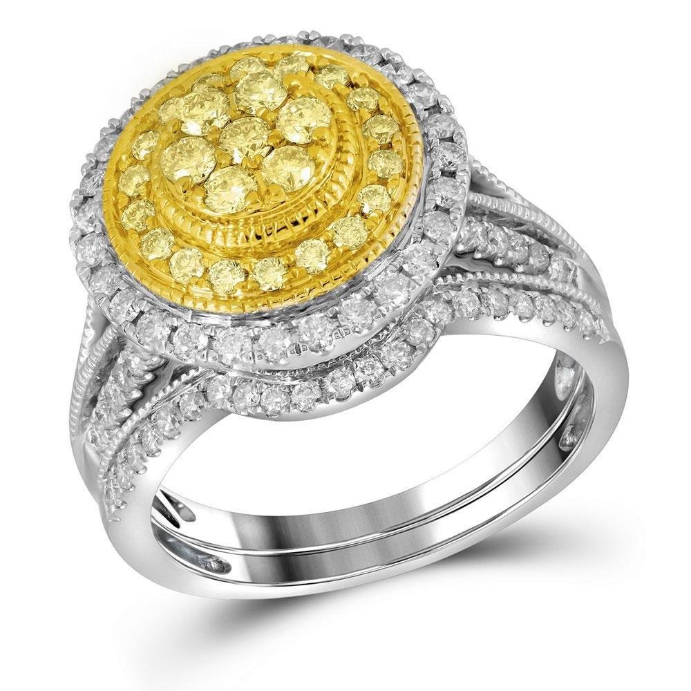 14kt White Gold Womens Round Yellow Diamond Bridal
