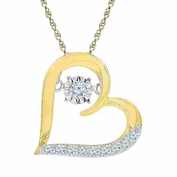 10kt Yellow Gold Womens Round Diamond Heart Moving