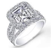 Natural 3.22 CTW Halo Asscher Cut Diamond Engagement
