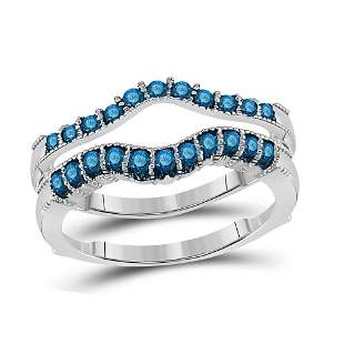 14kt White Gold Womens Round Blue Color Enhanced