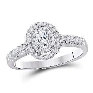 14kt White Gold Oval Diamond Halo Bridal Wedding