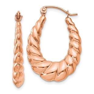 14k Rose Gold Polished Twisted Hollow Hoop Earrings -