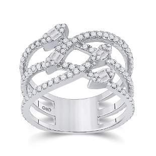 14kt White Gold Womens Baguette Diamond Crossover