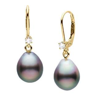 Black Tahitian Drop-Shaped Pearl and Diamond Leverback