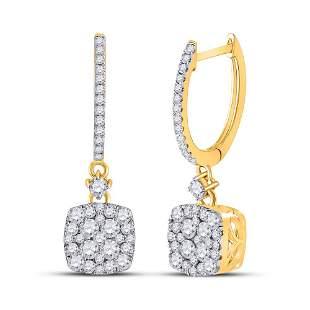 14kt Yellow Gold Womens Round Diamond Square Dangle