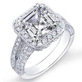 Natural 2.82 CTW Halo Split Shank Asscher Cut Diamond