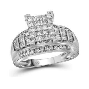 14kt White Gold Princess Diamond Cluster Bridal Wedding