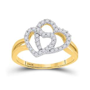 14kt Yellow Gold Womens Round Diamond Double Heart Ring
