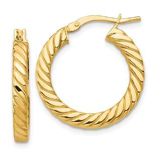 14k Yellow Gold Polished Twisted Hoop Earrings - 3 mm