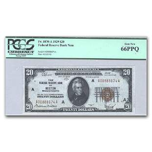 1929 (A-Boston) $20 Brown Seal FRBN CU-66 PPQ PCGS