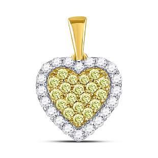 14kt Yellow Gold Womens Round Yellow Diamond Heart