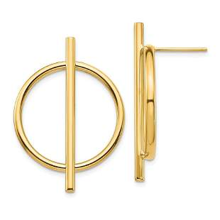 14k Yellow Gold Circle & Bar Post Earrings