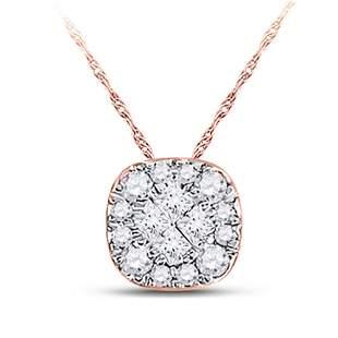 14kt Rose Gold Womens Princess Diamond Square Pendant