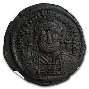 Byzantine 40 Nummi Justinian I (527-565 AD) Ch VF NGC