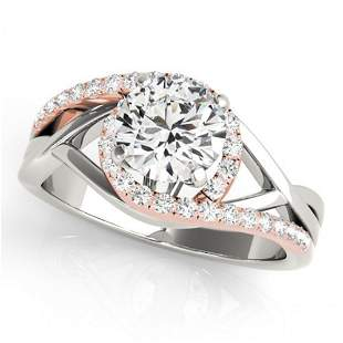 Natural 1.3 ctw Diamond Bypass SolitaireRing 14k 2Tone