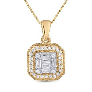 14kt Yellow Gold Womens Round Diamond Cushion Cluster