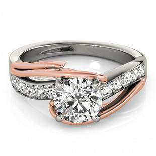 Natural 1 ctw Diamond Bypass Solitaire Ring 14k 2Tone