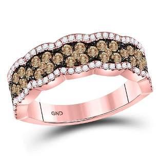 14kt Rose Gold Womens Round Brown Diamond Fashion Band