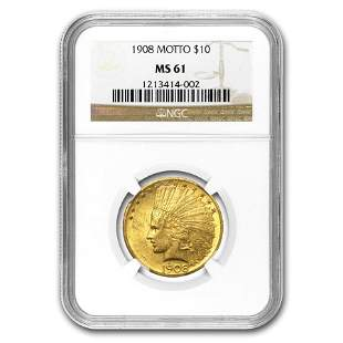 $10 Indian Gold Eagle MS-61 NGC (Random)