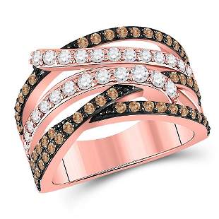14kt Rose Gold Womens Round Brown Diamond Crossover
