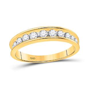 14kt Yellow Gold Womens Round Channel-set Diamond