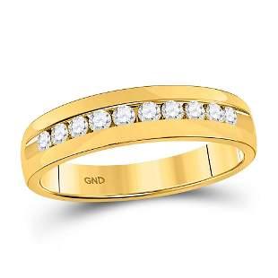 14kt Yellow Gold Mens Round Diamond Wedding Single Row