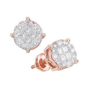 14kt Rose Gold Womens Princess Round Diamond Fashion