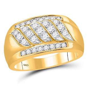 14kt Yellow Gold Mens Round Diamond Wedding Band Ring 1