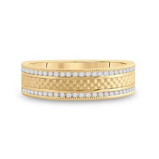 14kt Yellow Gold Mens Round Diamond Wedding Brick Band
