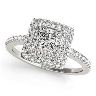Natural 0.85 ctw Princess Diamond Halo Ring 14k White