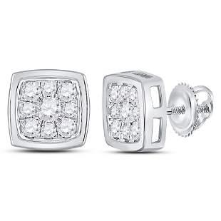 14kt White Gold Womens Round Diamond Square Cluster