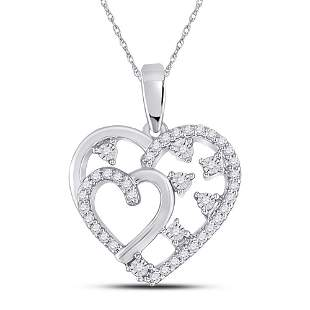 14kt White Gold Womens Round Diamond Double Heart
