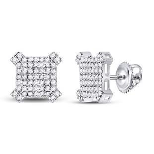 14kt White Gold Mens Round Diamond Squared Cluster
