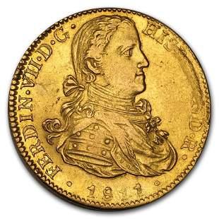 1811 Mo JJ Mexico Gold 8 Escudos Ferdinand VII XF