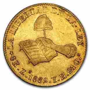 1832-1870 Mexico First Republic Gold 8 Escudos XF